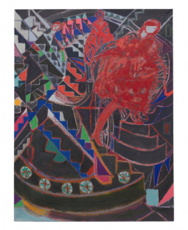 Jackie Gendel – Stained Glass Cliff - Jackie Gendel, tbt, 2019. Oil on linen, 40 x 30 in.