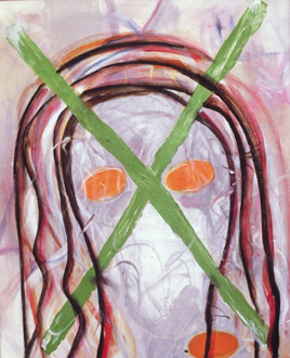 Jutta Koether – I Is Had Gone - Living Desire (Disarmed), (from Hysterics series) 2000. Acrylic on canvas, 24 x 20 in.