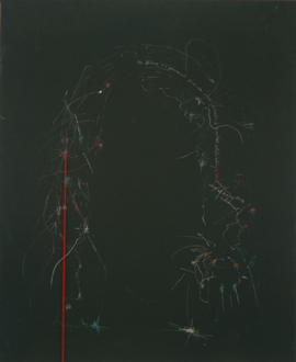 Jutta Koether – I Is Had Gone - Ladies of the Rope (Version 2), 2003/04. Black canvas, red thread, silver pen, 48 x 36 in.