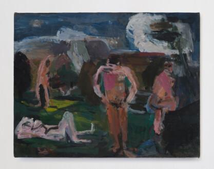 Janice Nowinski - <i>Bathers after Cézanne</i>, 2015. Oil on canvas, 11 x 14 in.