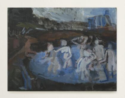 Janice Nowinski - <i> Bathers after Cranach</i>, 2016. Oil on canvas, 11 x 14 in.