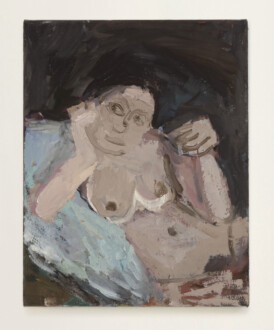 Janice Nowinski - <i> Nude Holding a Wine Glass</i>, 2020. Oil on canvas, 14 x 11 in.