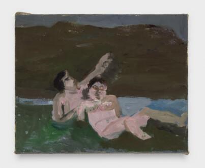 Janice Nowinski - <i>Bathers in a Stream</i>, 2021. Oil on linen, 8 x 10 in.