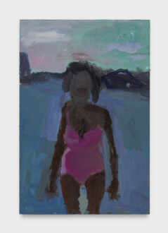 Pink Bathing Suit - <i>Pink Bathing Suit #9</i>, 2021. Oil on canvas, 12 ¾ × 8 ¾ in.