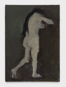 Janice Nowinski - <i>Standing Nude with Long Hair</i>, 2021. Oil on panel, 7 x 5 in.