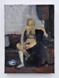 Janice Nowinski - <i>Twisting Nude</i>, 2021. Oil on board, 7 x 5 in.