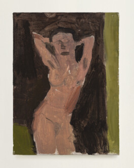 Janice Nowinski - <i>Woman with Arms Up</i>, 2021. Oil on linen, 8 x 6 in.