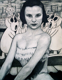 15 Years Thomas Erben - Jenny Scobel, She Heard the News, 1998. Graphite, oil and wax on prepared wooden panel, 36 x 28 in.