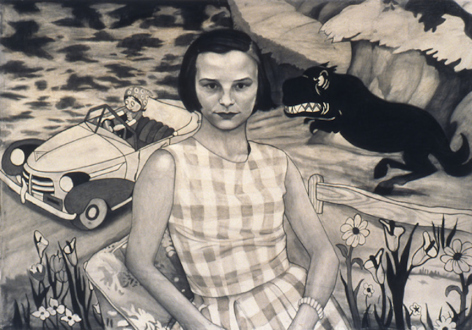 Jenny Scobel – Ingots - Outrun Memory, 2002-03. Graphite on prepared wooden panel, 34 x 48 in.