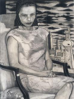 Jenny Scobel – Ingots - Untitled (Bird Print Dress), 2002-03. Graphite, oil and wax on prepared wooden panel, 32 x 24 in.