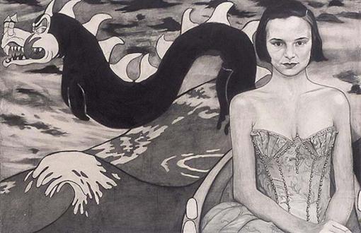 Jenny Scobel – Ingots - Rain, 2002. Graphite, oil and wax on prepared wooden panel, 34 x 48 in.