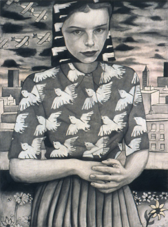 Jenny Scobel – Ingots - Bird at the Window, 2003. Graphite, oil and wax on prepared wooden panel, 32 x 24 in.