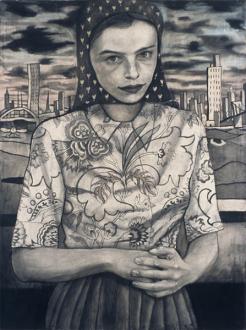 Jenny Scobel – Ingots - Heart, 2003. Graphite, oil and wax on prepared wooden panel, 32 x 24 in.