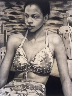 Jenny Scobel – Ingots - Polka Dot Bikini, 2003. Graphite on prepared wooden panel, 32 x 24 in.
