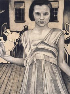 Jenny Scobel – Ingots - Sleep, 2003. Graphite and wax on prepared wooden panel, 39 x 29 in.