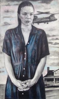 Jenny Scobel  – Women - Ohio, 2006/2007. Graphite, watercolor and wax on prepared wooden panel, 42 x 24 in.