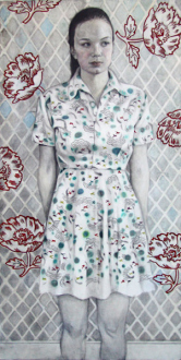Jenny Scobel  – Women - Untitled, 2008. Pencil, watercolor and wax on prepared wooden panel, 66 x 33 in.