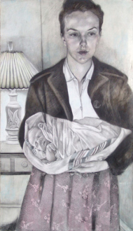 Jenny Scobel  – Women - Something in the Way, 2009/2010. Pencil, watercolor and wax on prepared wooden panel, 42 x 24 in.
