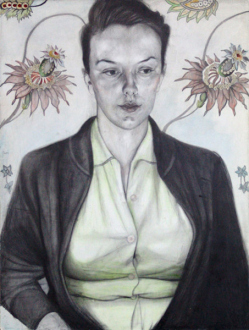 Jenny Scobel  – Women - Eyes Glass Grey, 2009. Pencil, watercolor and wax on prepared wooden panel, 32 x 24 in.