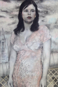 Jenny Scobel  – Women - Helicopters, 2009. Pencil, watercolor and wax on prepared wooden panel, 42 x 28 in.