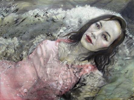Jenny Scobel  – Women - Lake Michigan, 2011/2012. Pencil and watercolor on prepared wooden panel, 24 x 32 in.