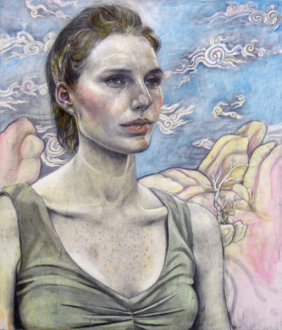 Jenny Scobel  – Women - Pilgrim, 2011/2012. Pencil and watercolor on prepared wooden panel, 29 x 24 in.