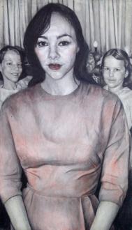 Jenny Scobel  – Women - Andrea, 2011. Pencil, watercolor, oil and wax on prepared wooden panel, 42 x 24 in.