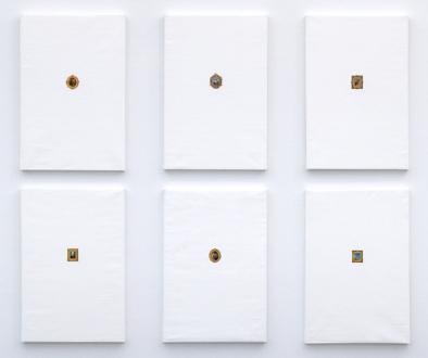 New Selections: South Asia – Vinod Balak, Faiza Butt, Hasan Elahi, Anoka Faruqee, Koshal Hamal, Ehsan ul Haq, Sreshta Rit Premnath, Schandra Singh - Koshal Hamal: A Portrait of Paintings: Titled and Untitled, 2011. Acrylic on canvas, 6 panels, each 35.5 x 23.5 in.