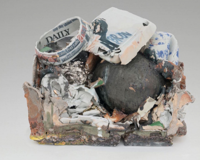 are you dead, yet? – Horst Ademeit, Jason Eberspeaker, Kahlil Robert Irving, Mira Schor - Kahlil Robert Irving, Mass: Meissen TO – GO (KILLING DAILY; DAILY KILLING), 2017. Glazed and unglazed porcelain and stoneware, gravel, red earthenware brick, porcelain enamel, Meissen Porcelain Factory and personally constructed decals, and blue, gold, silver luster, 11 1/2 x 14 1/2 x 10 in.
