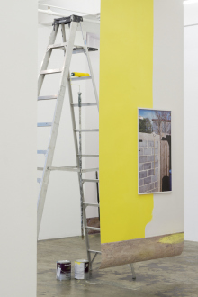 Kathrin Sonntag – Problems and Solutions - Problems and Solutions: Section 3, 2017. Photographic wallpaper, ladder, paint roller and rod, paint cans 138 x 53 in. (length variable)