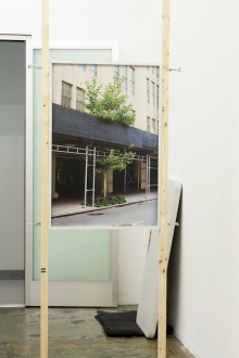 Kathrin Sonntag – Problems and Solutions - Problems and Solutions: Section 5, 2017. Photographic wallpaper mounted on wooden panel, wood slats (variable length), metal joints 37 x 25 in.