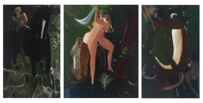 Painting Forward – Joan Brown, Charles Garabedian, Jackie Gendel, Haley Josephs, , Kyle Starver - Kyle Staver, Diana & Actaeon, 2012, oil on linen, triptych: 68 x 154 in.