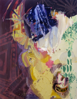 That This Is – Lauren Luloff, Cassie Raihl, William Santen - Lauren Luloff: Crown, 2011. Oil and bleached bed sheets on muslin, 72 x 56 in.