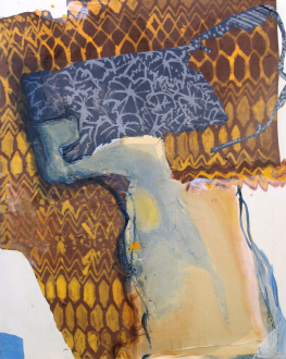 That This Is – Lauren Luloff, Cassie Raihl, William Santen - Lauren Luloff: Amber, 2012. Oil and bleached bed sheets on muslin, 74 x 59 in.