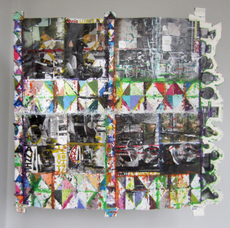 Independent Art Fair 2015 - Altered photography book, Color-Aid paper and acrylic paint (double-sided) 61 × 63 inches
