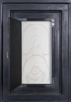 Her Bone - <i>Our Lady of the Step Brothers</i> (inset), 1983-1989. Graphite, textured gesso and found materials on wood, 42 x 31 x 4 in.