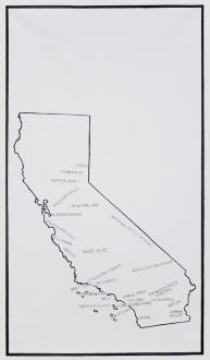 Los Angeles Bound – Diedrick Brackens, Thomas Lawson, Tiffany Livingston, Mark Roeder - Mark Roeder, Antipainting (The Idea of California -- Similarities to Some Distant Places), 2013. Acrylic, graphite, and ink on polyflax, 42 x 74 inches