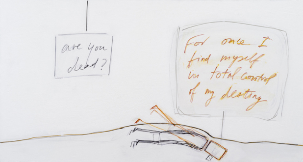 are you dead, yet? – Horst Ademeit, Jason Eberspeaker, Kahlil Robert Irving, Mira Schor - Mira Schor, For Once..., 2014. Ink, gesso and acrylic on linen, 24 x 45 in.