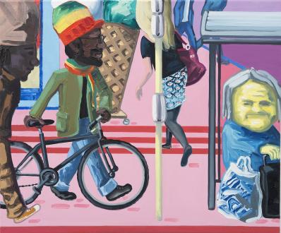 Marcus Weber – Adalbertstraße, Krazy Kat und Artforum-Leser - A-Str.12, 2009. Oil on canvas, 20 x 24 in.