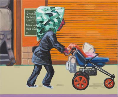 Marcus Weber – Adalbertstraße, Krazy Kat und Artforum-Leser - A-Str.13, 2009. Oil on canvas, 20 x 24 in.