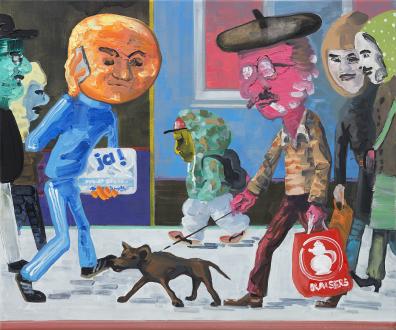 Marcus Weber – Adalbertstraße, Krazy Kat und Artforum-Leser - A-Str.1, 2008. Oil on canvas, 20 x 24 in.