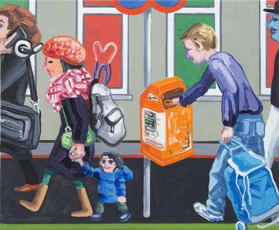Marcus Weber – Adalbertstraße, Krazy Kat und Artforum-Leser - A-Str.8, 2009. Oil on canvas, 20 x 24 in.