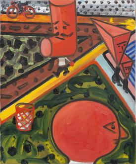 Marcus Weber – Adalbertstraße, Krazy Kat und Artforum-Leser - HS-Platz, 2010. Oil on canvas, 24 x 20 in.