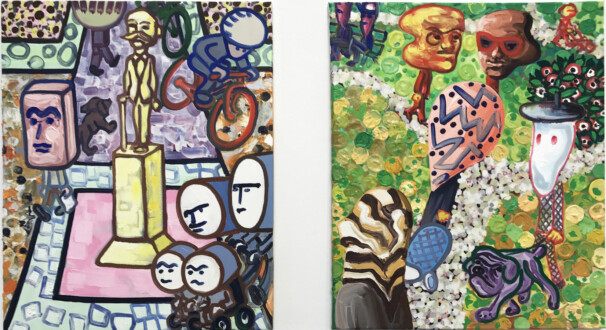 Painting in due time – Scott Anderson, Lydia Dona, Denzil Hurley, Harriet Korman, Hanneline Røgeberg, Marcus Weber - Marcus Weber, <i>Sch-D-Platz</i>, 2011 & F-Hain, 2010. Oil on canvas, each 19.5 x 24 in.
