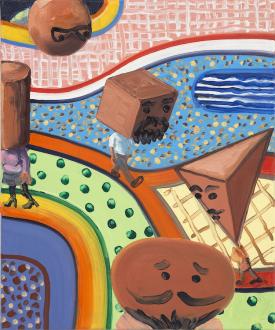 Marcus Weber – Adalbertstraße, Krazy Kat und Artforum-Leser - T-Garten, 2010. Oil on canvas, 24 x 20 in.