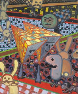 Marcus Weber – Adalbertstraße, Krazy Kat und Artforum-Leser - G-Park, 2011. Oil on canvas, 24 x 20 in.
