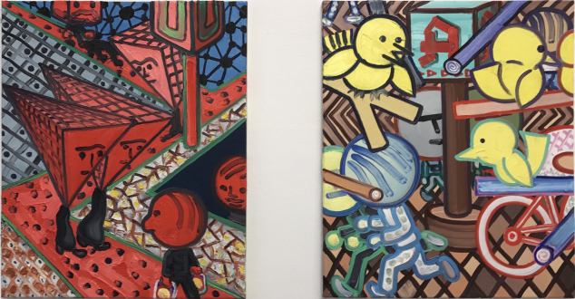 Painting in due time – Scott Anderson, Lydia Dona, Denzil Hurley, Harriet Korman, Hanneline Røgeberg, Marcus Weber - Marcus Weber, <i>K-Platz and N-Platz (Nolli)</i>, 2011. Oil on canvas, 19.5 x 24 in. each