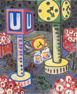 Marcus Weber – Adalbertstraße, Krazy Kat und Artforum-Leser - N-Platz II, 2011. Oil on canvas, 24 x 20 in.