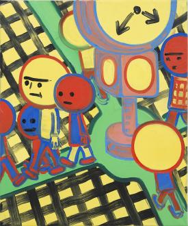 Marcus Weber – Adalbertstraße, Krazy Kat und Artforum-Leser - O-Platz, 2011. Oil on canvas, 24 x 20 in.