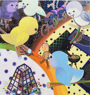 Marcus Weber – Adalbertstraße, Krazy Kat und Artforum-Leser - V-Park, 2011. Oil on cotton, 79 x 75 in.